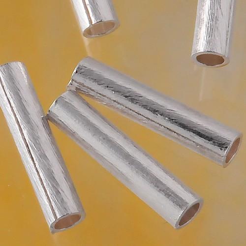 Silber Röhrchen Längsperle 10mm Silber 925 gebürstet