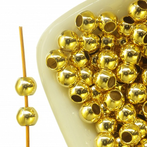 Gold Bead 3mm Shiny Gold Filled 14K 1/20Ham.