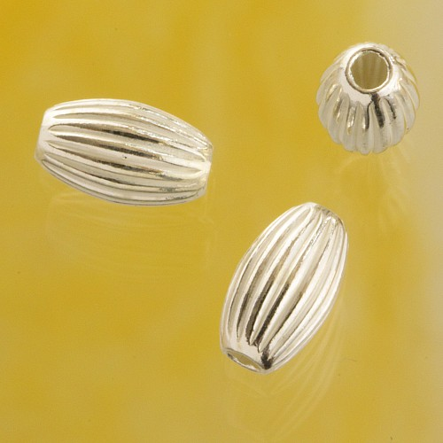 Silver Bead Corrugated 7.0x4.0 mm Sterling Silver