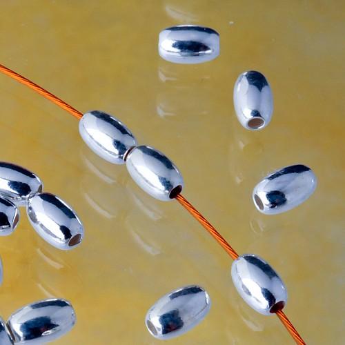 Olive Longitudinal Pearl 925 Silver 4.5x3 mm Hole 1.3mm