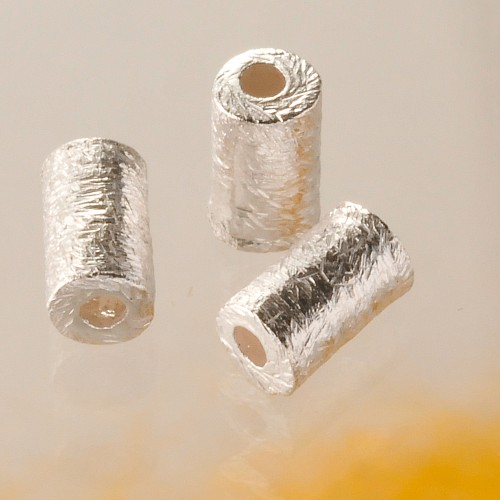 Zylinder Silberperle gebürstet 6 mm