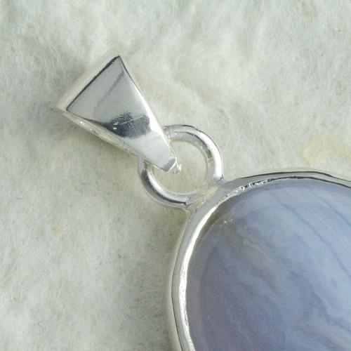 Chalcedony Blue Wave Pendants Silver 0152