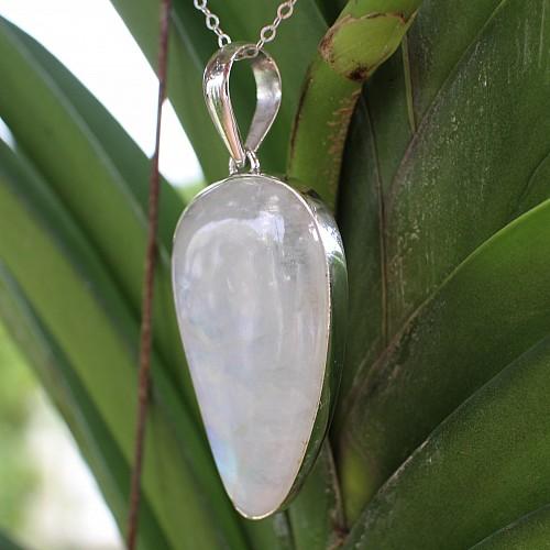 White Labradorite Sexy Lady Silver Pendant unique