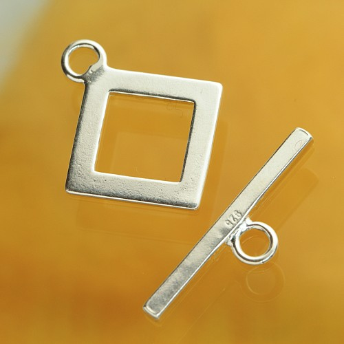 Toggle Clasp Square Top Silver 925