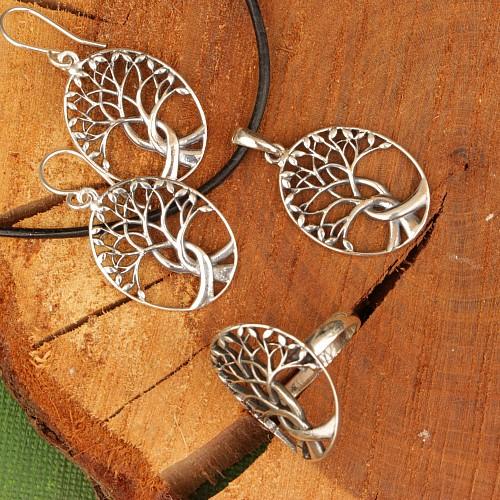 Baum des Lebens verschlungener Sterling Silber Ohrhänger 925