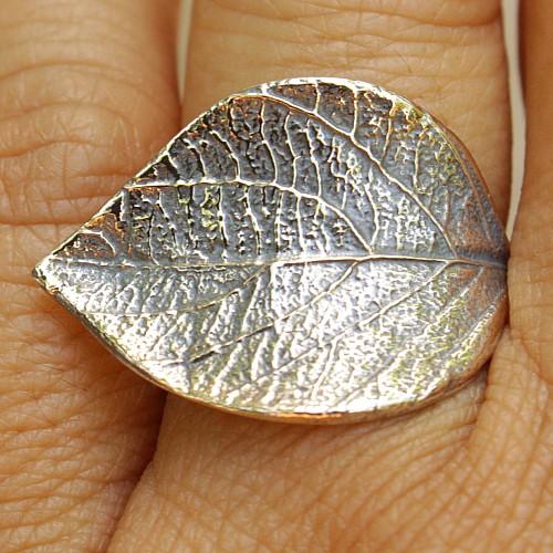 Sterling silver ring 925 Linden leaf