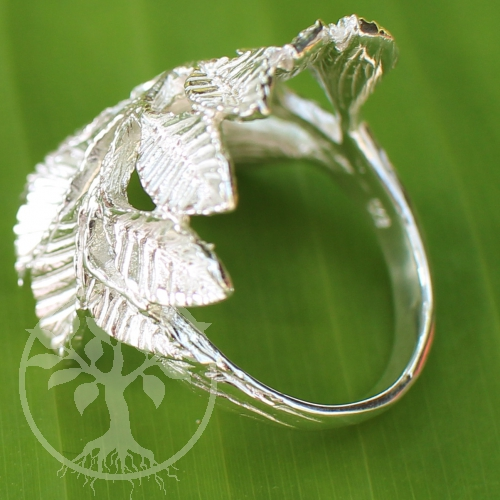 Leafy branch ring sterling silver 925