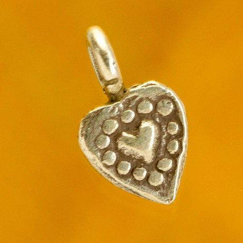 Heart in Heart small sterling silver pendant 925