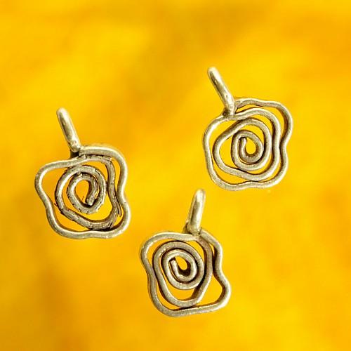 Flowery spiral sterling silver pendant 925