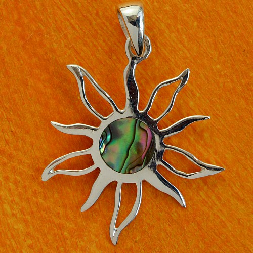 Bunte Sonne Perlmutt-Anhänger in Sterling Silber 925