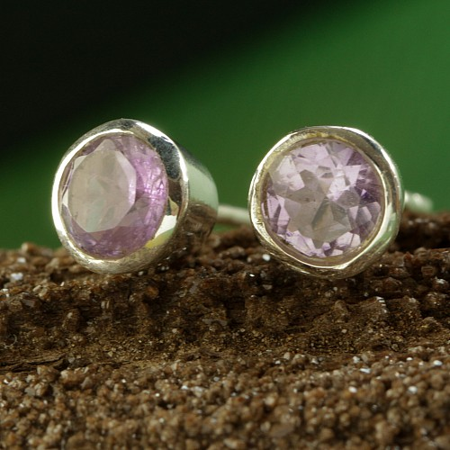 Amethyst 925 Sterling Silver Stud Earrings Cylinder with Facetted Gem