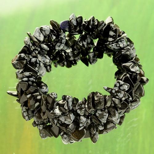 Schneeflocken-Obsidian Kinder Armband Polly / Schmale Arme
