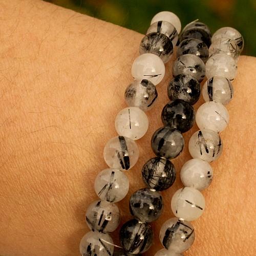 Turmalin Quarz schlankes Edelstein-Armband Perlen 6mm