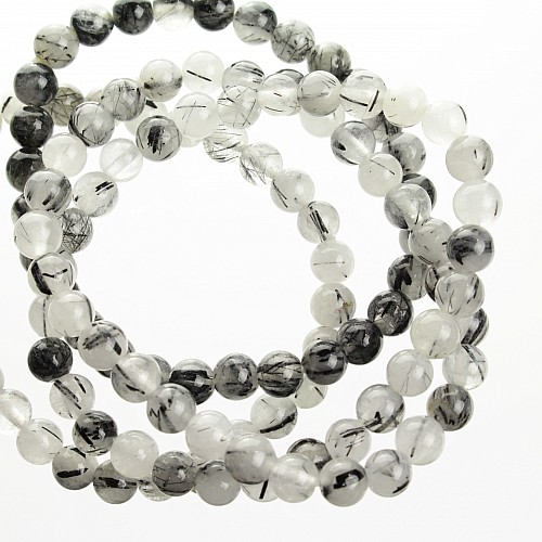 Tourmaline Quartz sleek gemstone bracelet beads 6mm