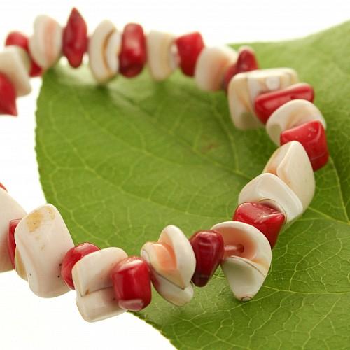 Perlmutt Koralle Armband Rot-Weiß