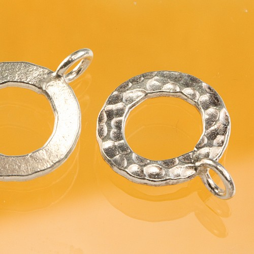 Toogle Clasp Hammered Sterlingsilver 14mm Ring 23mm Toogle