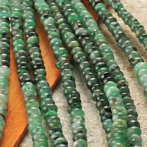 Smaragd Edelstein Buttonkette 4.5-6.5mm Button Perlen