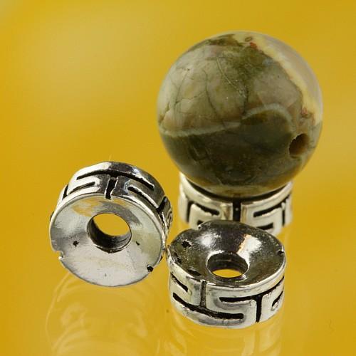Flache Silber Perle Meander Silberperle 8mm