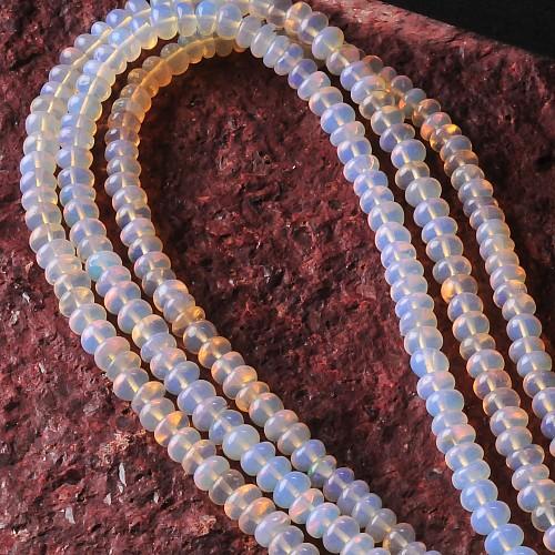 Opal Halskette Silberverschluß Opalkette teiltransparente Opalperlen