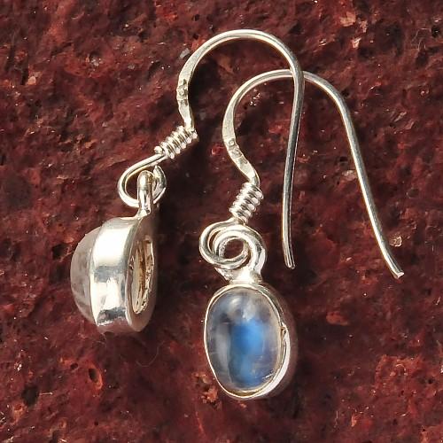 Rainbow Moonstone Silver Ear Pendant oval 8x5mm