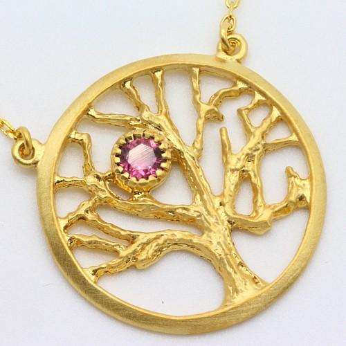 Baum des Lebens Anhänger Gold Silber925 vergoldet mit Turmalin A