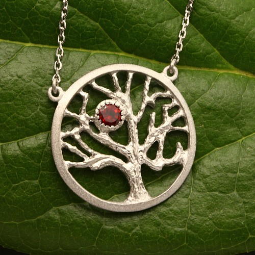Baum des Lebens Anhänger Silber 925 mit Granat Stein mit Silberkette