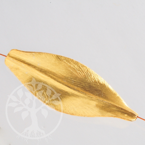 Silberperle Großes Blatt vergoldet Silber 925 gebürstet 65/25mm 11.5 Gramm 65mm