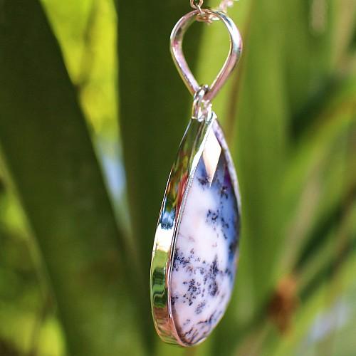 Dendriten Opal Silberanhänger 925 35mm