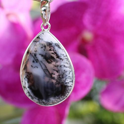 Dendriten Opal weiß Silberanhänger 50mm