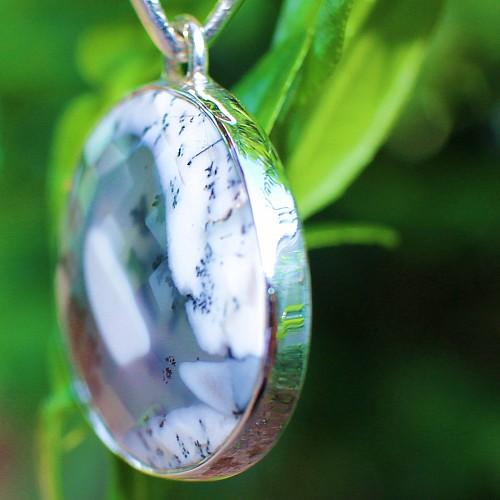 Dendriten-Opal AAA Silberanhänger Rund 46mm Opalanhänger Silber 925