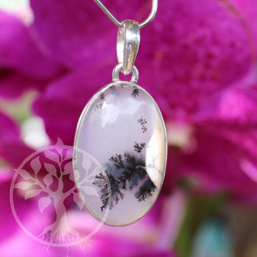 Dendriten Opal Silberanhänger 925 er Silber 45mm groß