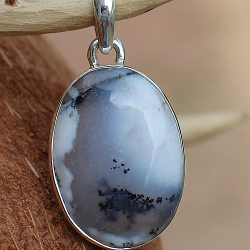 Opal Dendriten Silberanhänger 925er Silber Fassung 35 mm Anhänger