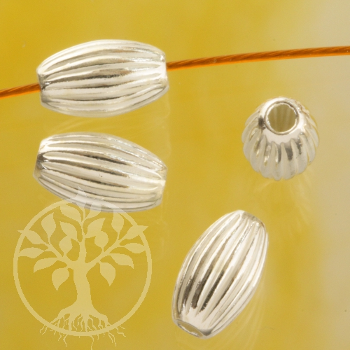 Silver Bead Corrugated 4.0x3.0 mm Sterling Silver