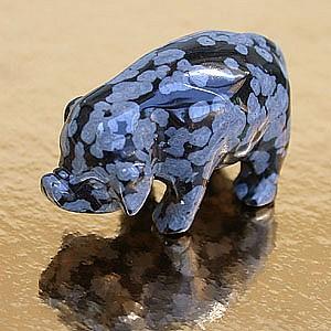 Obsidian Schneeflocke Gravur Schwein ca. 40mm