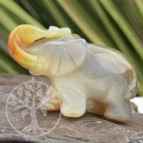 Elefantenfigur Stein Elefant Achat Achatelefant 40mm