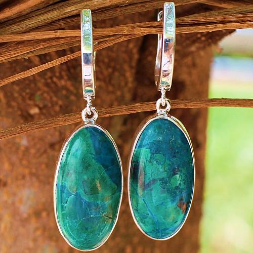 Chrysokoll  Ohrringe 43 mm Silber Ohrringe Echt Silber925 Ohrhänger