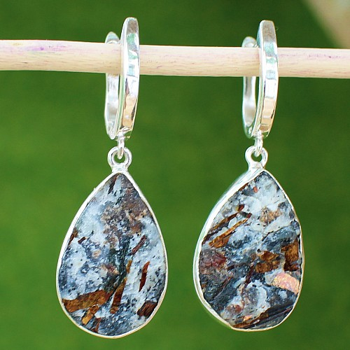 Astrophyllite Sterlingsilver Earring with a silver Leverback  hook