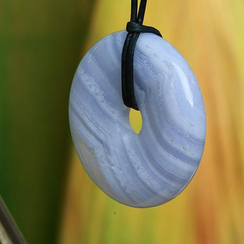 Chalcedon Donut Anhänger AAA 30mm mit Bänderung