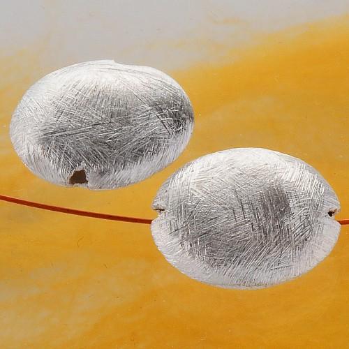 Disc Silberperle Scheibe innen hohl 925er Silber gebürstet 18 mm