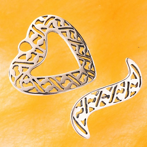Toogle Clasp Heart Sterling Silver 26mm
