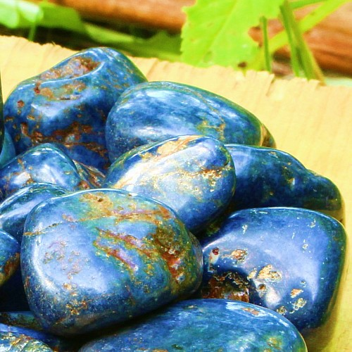 Saphir blau Trommelsteine L Groß 18/35mm A- mit braunen Einschlüssen