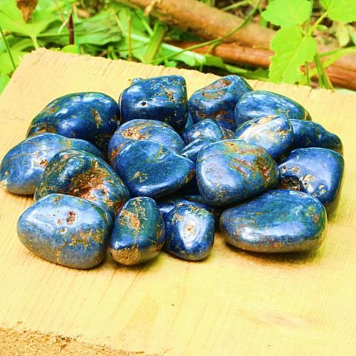 Saphir blau Trommelsteine L Groß 12/22mm A- mit braunen Einschüssen