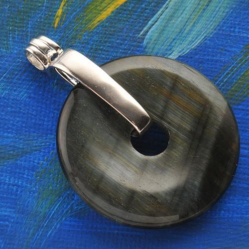 Rosenquarz Donut Schmuck Anhänger 20mm /& Donut Halter Silber