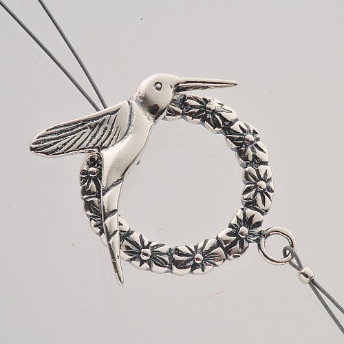 Toogle Clasp Humming-Bird Sterling Silver 925 28mm