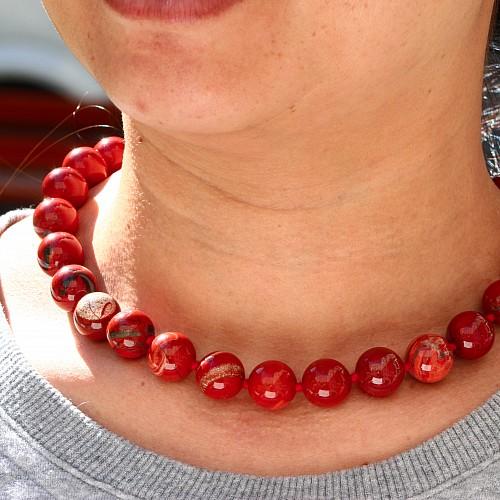Red jasper ball chain ca. 45cm/16mm