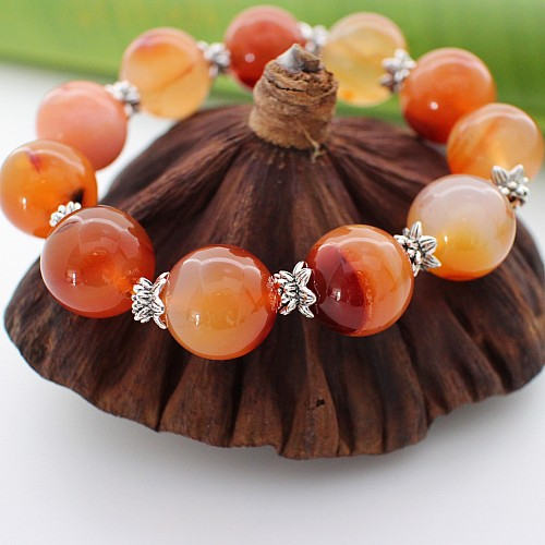 Bracelet Carnelian Stones 15 mm with Sterlingsilver Beads
