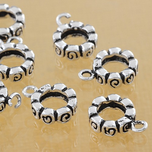 Thai sterling silver Tube Beads 925 3x8x11 mm