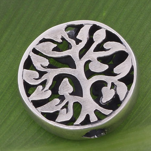 Silberperle Baum des Lebens 15mm Perle 3mm Loch  Silber 925