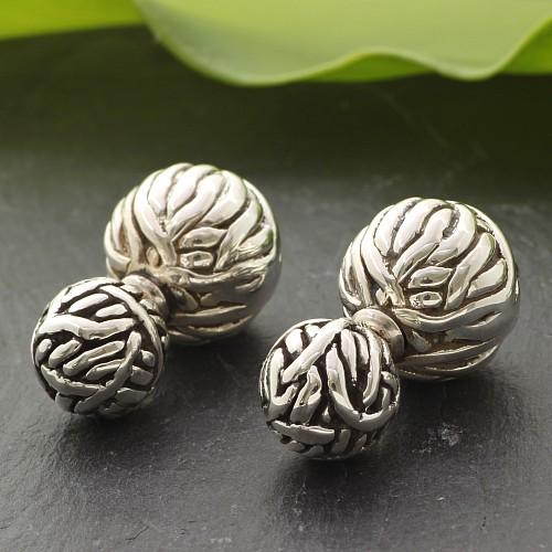 925 Silver Earring Sepak Takrow Design Big Ball 15x15 mm Small 10x10 mm