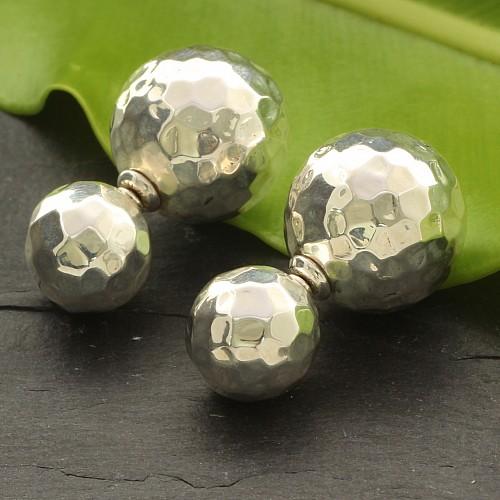 925 Silver Earring Ball Design Big Ball 17x17 mm Small 11x11 mm